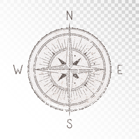 Ilustración de Vector illustration with a vintage textured compass or wind rose and grunge texture elements on transparent background. With basic directions North, East, South and West. - Imagen libre de derechos