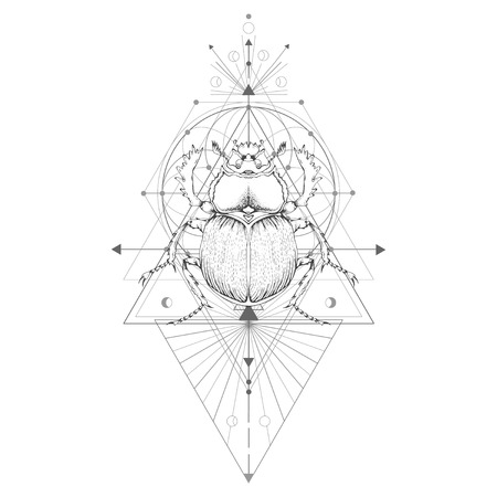 Illustration pour Vector illustration with hand drawn scarab and Sacred geometric symbol on white background. Abstract mystic sign. Black linear shape. For you design: tattoo, print, posters, t-shirts, textiles and magic craft. - image libre de droit