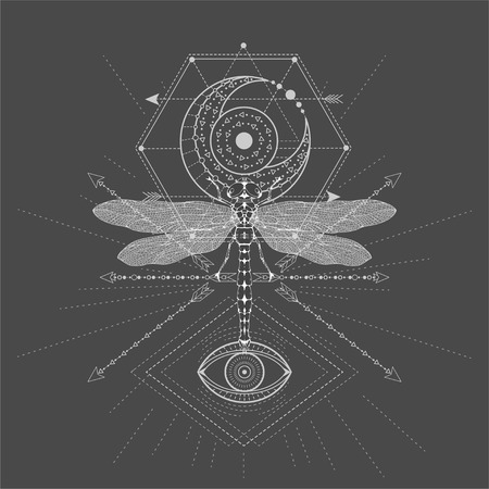 Illustration pour Vector illustration with hand drawn Dragonfly and Sacred symbol on black background. Abstract mystic sign. White linear shape. For you design, tattoo or magic craft. - image libre de droit