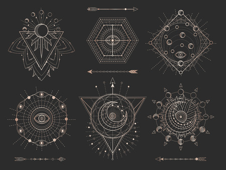 Ilustración de Vector set of Sacred geometric symbols and figures on black background. Gold abstract mystic signs collection drawn in lines. For you design: tattoo, print, posters, t shirts, textiles and magic craft - Imagen libre de derechos