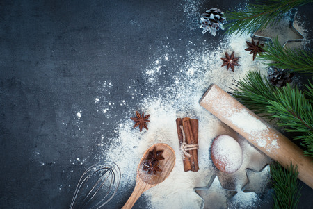 Photo for Ingredients for cooking Christmas baking. Top view, copy space. - Royalty Free Image