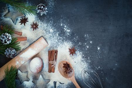 Foto de Ingredients for cooking Christmas baking. Top view, copy space. - Imagen libre de derechos