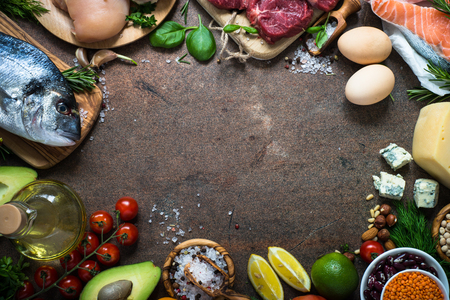 Photo for Food frame on dark stone table. Organic food for healthy nutrition. Ingredients for cooking. Top view copy space. - Royalty Free Image