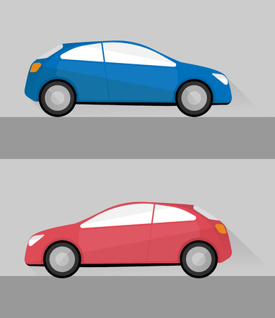 Illustration pour set of two isolated cars in flat style - image libre de droit