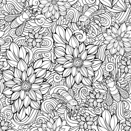 Illustration pour Coloring page with seamless pattern of flowers and bees. - image libre de droit