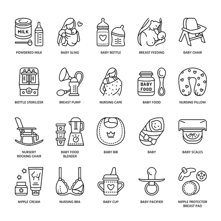 Illustration pour Modern vector line icon of breastfeeding, baby infant food. Breast feeding elements - pump, woman, child, powdered milk, bottle sterilizer, baby. Infant food pictogram - image libre de droit