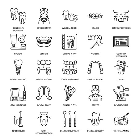 Illustration pour Dentist, orthodontics line icons. Dental care equipment, braces, tooth prosthesis, veneers, floss, caries treatment and other medical elements. Health care thin linear signs for dentistry clinic. - image libre de droit