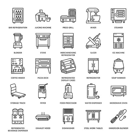 Illustration pour Restaurant professional equipment line icons. Kitchen tools, mixer, blender, fryer, food processor, refrigerator, steamer, microwave oven. Thin linear signs for commercial cooking equipment store. - image libre de droit