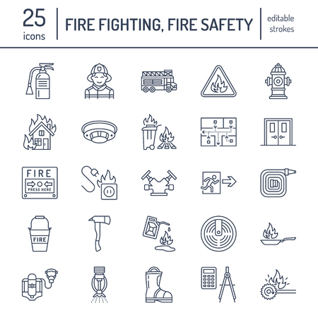 Illustration for Firefighting, fire safety equipment flat line icons. Firefighter, fire engine extinguisher, smoke detector, house, danger signs, firehose. Flame protection thin linear pictogram. - Royalty Free Image
