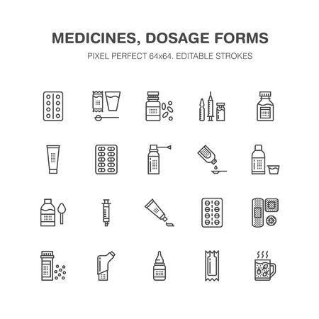 Photo pour Medicines and dosage forms line icons. - image libre de droit