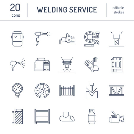 Illustration pour Welding services flat line icons. Rolled metal products, steelwork, stainless steel laser cutting, fabrication, turning works, safety equipment, powder coating. Industry thin sign for welder services. - image libre de droit