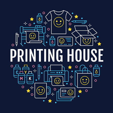 Illustration for Printing house circle poster with flat line icons. Print shop equipment - printer, scanner, offset machine, plotter, brochure, cmyk, rubber stamp. Polygraphy office signs, typography. - Royalty Free Image