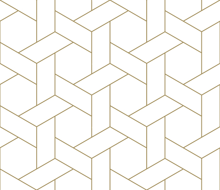Illustration for Modern simple geometric vector seamless pattern with gold line texture on white background. Light abstract wallpaper, bright tile backdrop. - Royalty Free Image