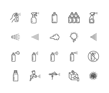 Illustration pour Spray can flat line icons set. Hand with aerosol, airbrush, powder coating, graffiti art, cough effect vector illustrations. Thin signs for disinfection, cleaning. Pixel perfect 64x64. Editable Stroke - image libre de droit