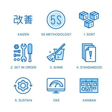 Illustration pour Kaizen, 5S methodology flat line icons set. Japanese business strategy, kanban method vector illustrations. Thin signs for management. Pixel perfect 64x64. Editable Strokes. - image libre de droit