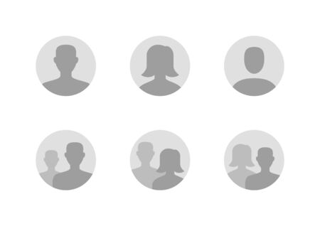 Illustrazione per Avatar flat icon set. Default anonymous user portrait vector illustrations. Signs for man, woman faceless profile picture. Gray round website placeholder. - Immagini Royalty Free
