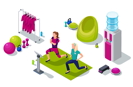 Ilustración de Isometric ems fitness studio with girl and personal trainer doing electrical muscular workout and sports equipment. Vector illustration - Imagen libre de derechos