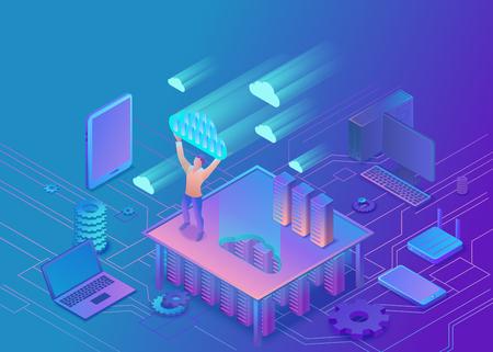 Illustration pour Man holding cloud isometric info-graphic 3d illustration, landing page layout, vector web template, smart modern technology concept. - image libre de droit