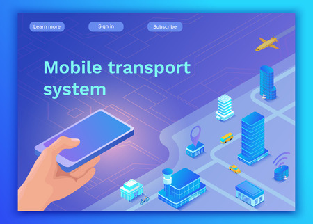 Ilustración de Mobile transportation online service landing page template, travel booking app concept with 3d isometric vector flat icons of smartphone, airplane, bus, electric scooter, girl searching in internet - Imagen libre de derechos