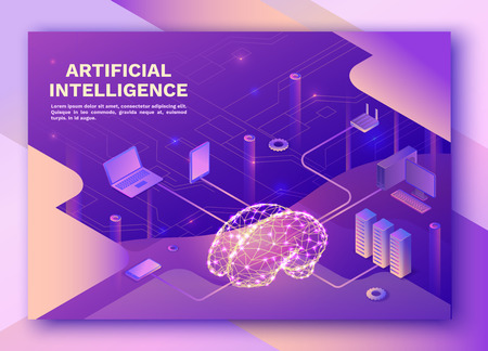 Illustration pour Artificial intelligence landing pagewith electric brain and neural network, isometric 3d illustration with smartphone, laptop, mobile gadget, modern data storage banner, violet background - image libre de droit