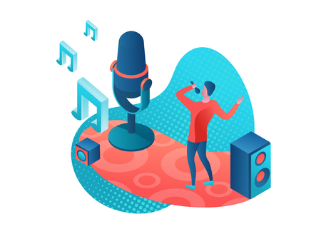 Illustrazione per Singer 3d isometric colorful illustration, girl singing with microphone, radio person - Immagini Royalty Free
