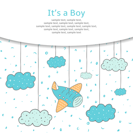 Illustration pour Cute hand drawn doodle baby shower card, cover, background with plane and clouds in the sky. It is a boy postcard. - image libre de droit