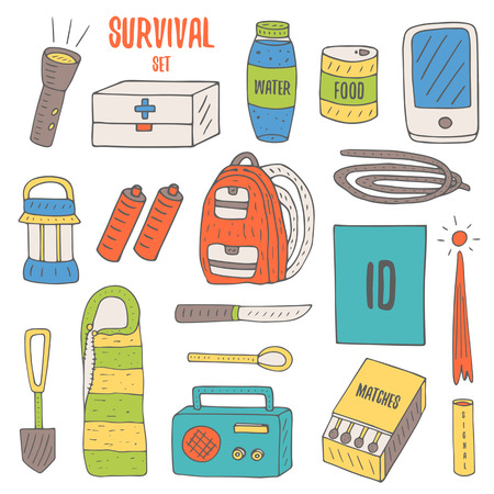 Illustration pour Doodle objects for survival in catastrophe, camping including lantern, backpack, radio, matches, emergency box, water bottle - image libre de droit