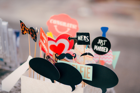 Photo for Accessories for photobooths photoshooting. Wedding in Montenegro. - Royalty Free Image