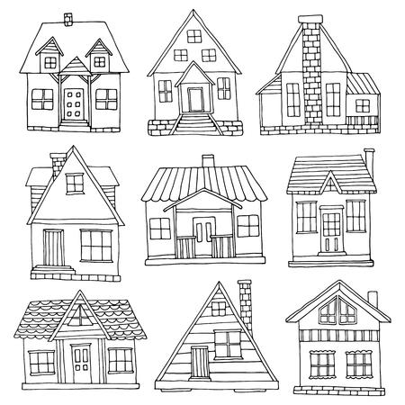 Ilustración de House set. Hand drawn cute cabins collection - Imagen libre de derechos