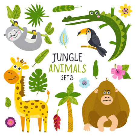 Illustration for Vector set of cute animals from jungle and plants. Isolated elements for stickers, cards, invites and posters - Royalty Free Image