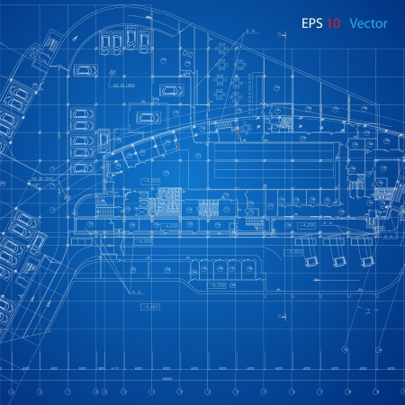 Foto per Urban Blueprint  vector   Architectural background  Part of architectural project, architectural plan, technical project, drawing technical letters, design on paper, construction plan - Immagine Royalty Free
