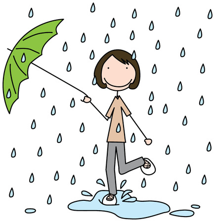 Illustration of a girl jumping in the puddle