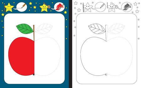 Ilustración de Preschool worksheet for practicing fine motor skills - tracing dashed lines - finish the illustration of an apple - Imagen libre de derechos