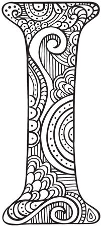 Illustration for Hand drawn capital letter I in black - coloring sheet for adults - Royalty Free Image