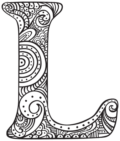 Illustration for Hand drawn capital letter L in black - coloring sheet for adults - Royalty Free Image