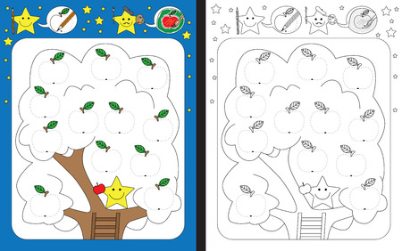 Ilustración de Preschool worksheet for practicing fine motor skills - tracing dashed lines of apples illustrations - Imagen libre de derechos