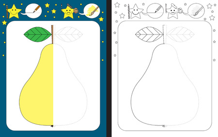 Ilustración de Preschool worksheet for practicing fine motor skills - tracing dashed lines - finish the illustration of pear - Imagen libre de derechos