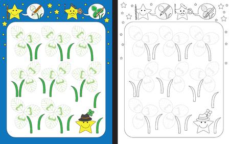 Ilustración de Preschool worksheet for practicing fine motor skills - tracing dashed lines of illustrated clover leaves - Imagen libre de derechos