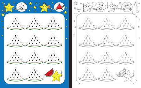 Ilustración de Preschool worksheet for practicing fine motor skills - tracing dashed lines - finish the illustration of watermelon slices - Imagen libre de derechos