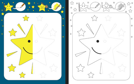 Ilustración de Preschool worksheet for practicing fine motor skills - tracing dashed lines - finish the illustration of cartoon star - Imagen libre de derechos