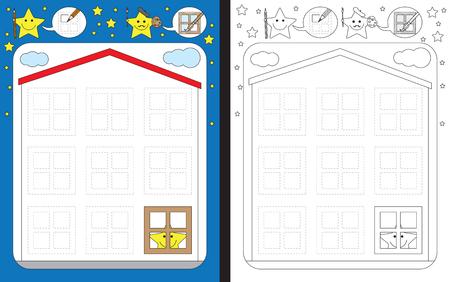 Ilustración de Preschool worksheet for practicing fine motor skills - tracing dashed lines of windows on a house - Imagen libre de derechos