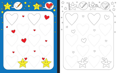 Ilustración de Preschool worksheet for practicing fine motor skills - tracing dashed lines of hearts - Imagen libre de derechos