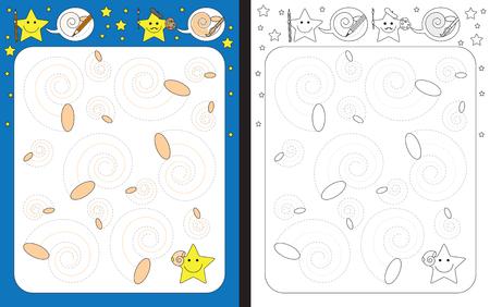 Ilustración de Preschool worksheet for practicing fine motor skills - tracing dashed lines of seashell - Imagen libre de derechos