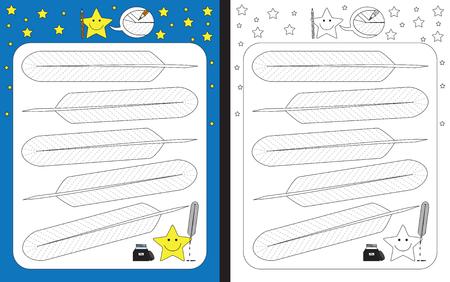 Ilustración de Preschool worksheet for practicing fine motor skills - tracing dashed lines on feathers - Imagen libre de derechos