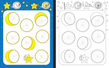 Ilustración de Preschool worksheet for practicing fine motor skills - tracing dashed lines of lemon slices - Imagen libre de derechos