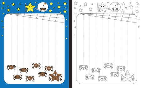 Ilustración de Preschool worksheet for practicing fine motor skills - tracing dashed lines from cobweb to spiders - Imagen libre de derechos
