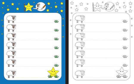 Ilustración de Preschool worksheet for practicing fine motor skills - tracing dashed lines from sheep to grass - Imagen libre de derechos