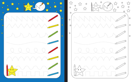 Ilustración de Preschool worksheet for practicing fine motor skills - tracing dashed lines of crayon trails - Imagen libre de derechos