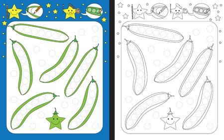 Ilustración de Preschool worksheet for practicing fine motor skills - tracing dashed lines of green peas - Imagen libre de derechos