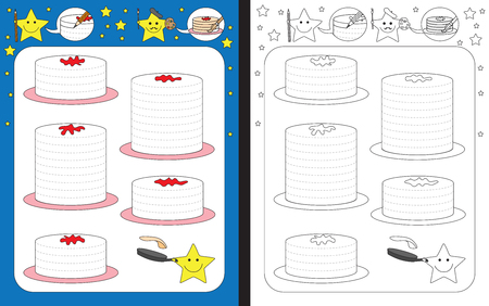 Ilustración de Preschool worksheet for practicing fine motor skills - tracing dashed lines of pancakes - Imagen libre de derechos